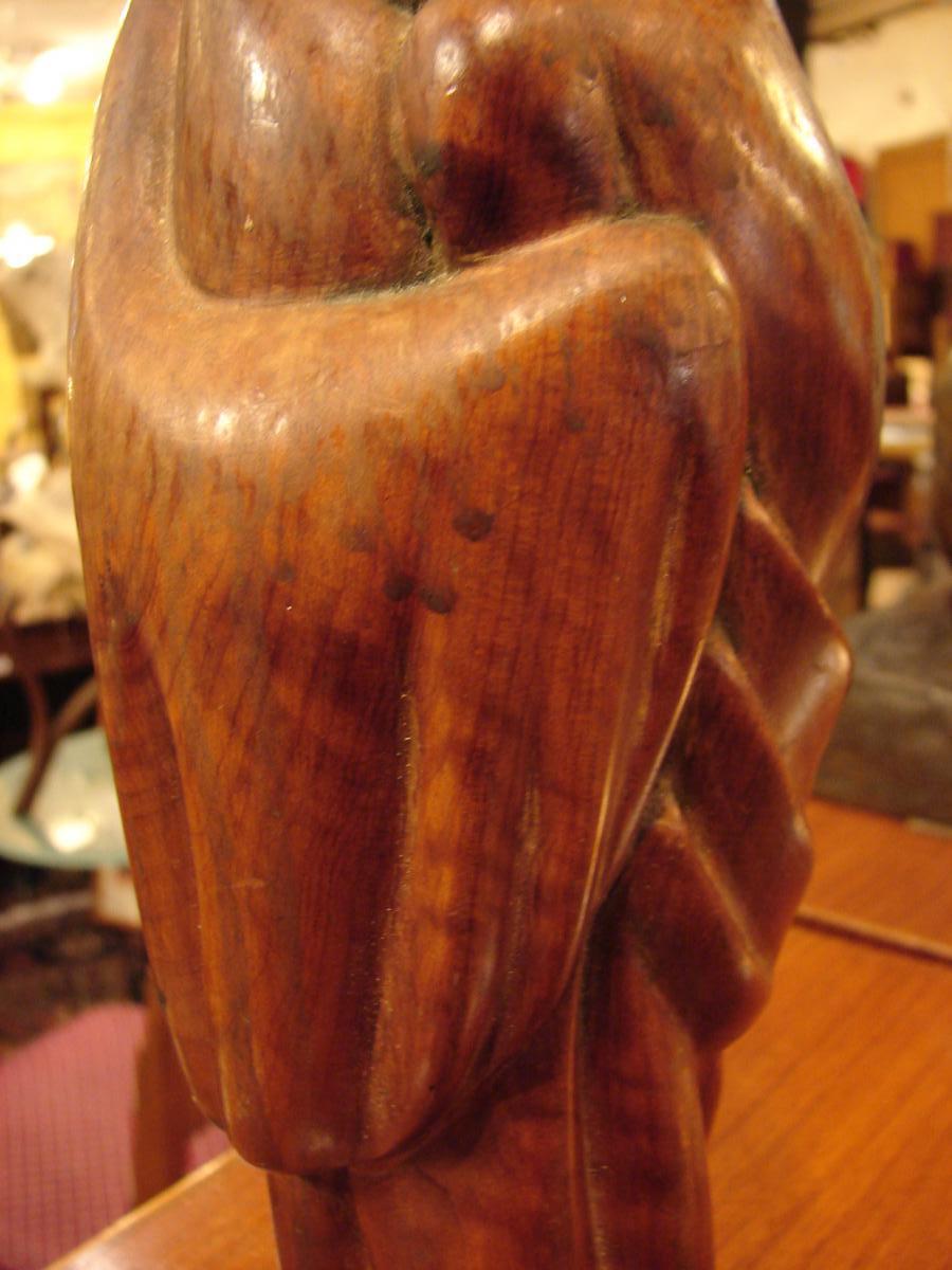 """Céline Lepage """"la Femme De Marrakech"""" Sculpture En Bois De Cerisier,-photo-2"""