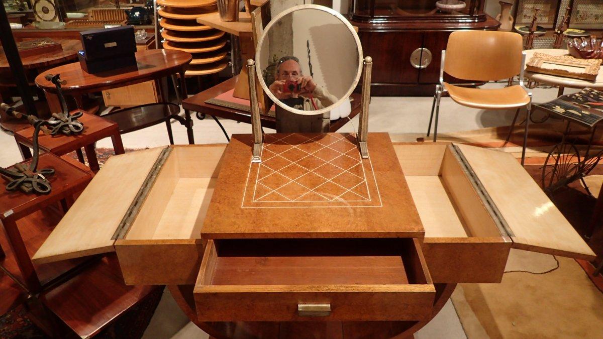 Art Deco Dressing Table, Dlg De Ruhlmann, Ivory, Silver Bronze, Amboyna And Sycamore-photo-6