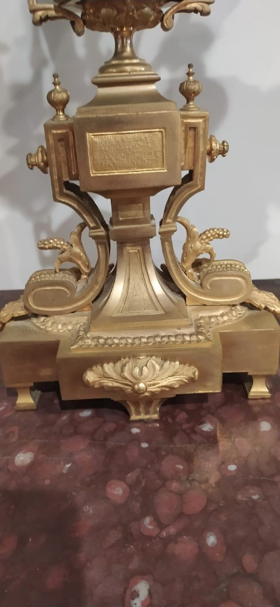Grande Garniture En Bronze Dorée Très Belle Dorure Niii-photo-4