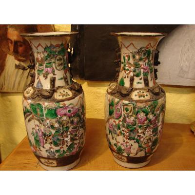 Nankin Grande Paire De Vases   Chine Fin 19eme
