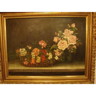 Grande Nature Morte Aux Fleurs Edouard.w.hoehn 1922