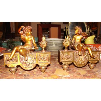 Puttis Musicians Gilded Bronze And 19th Emerald Varnish