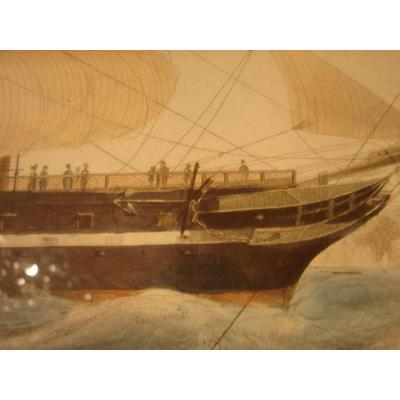 "Stamp Color 1840 ""steam Ship"" President ""mahogany Frame"