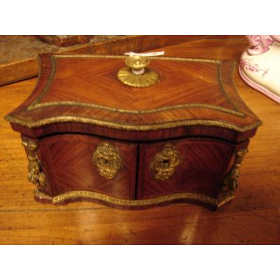 Small Jewelry Box Marquetry And Bronze Niii