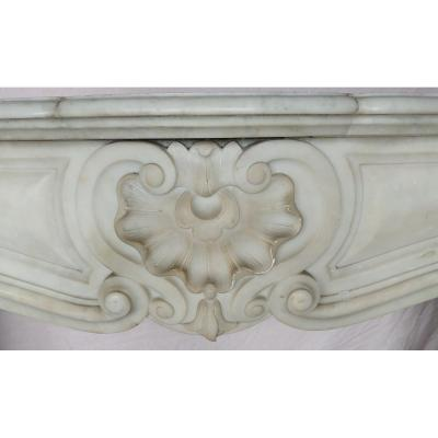 Large Louis XV Fireplace In White Marble