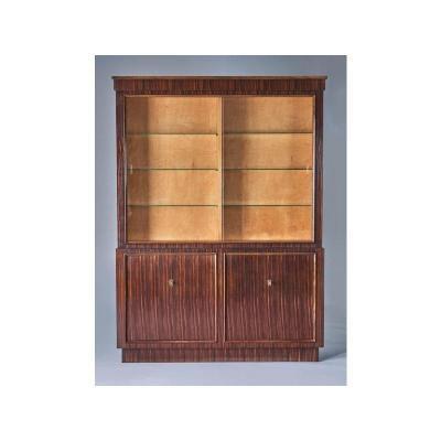 Bibliotheque  Vitrée En Placage De Palissandre Et Intérieur En Bois Clair, L