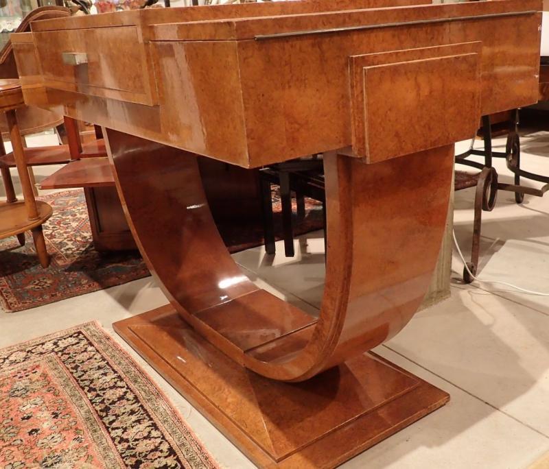 Art Deco Dressing Table, Dlg De Ruhlmann, Ivory, Silver Bronze, Amboyna And Sycamore-photo-3