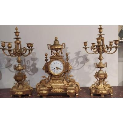 Grande Garniture En Bronze Dorée Très Belle Dorure Niii