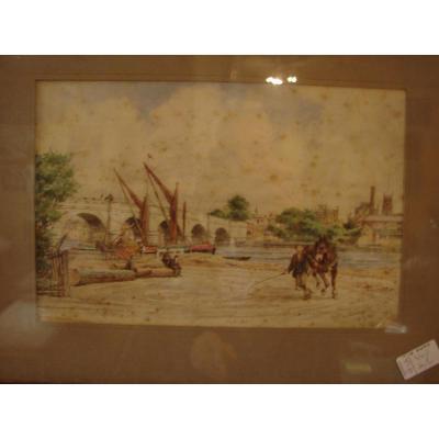 Paire d'Aquarelles Anglaise 1896