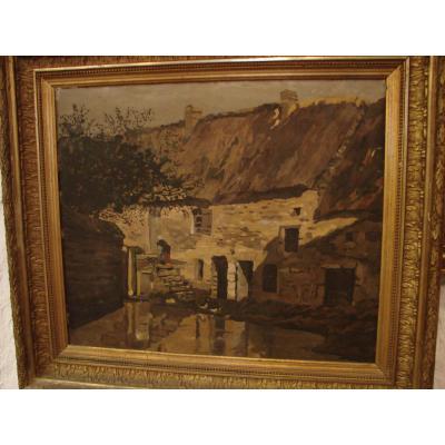 "Tableau en Scagliola ""La Maison en Bretagne"""