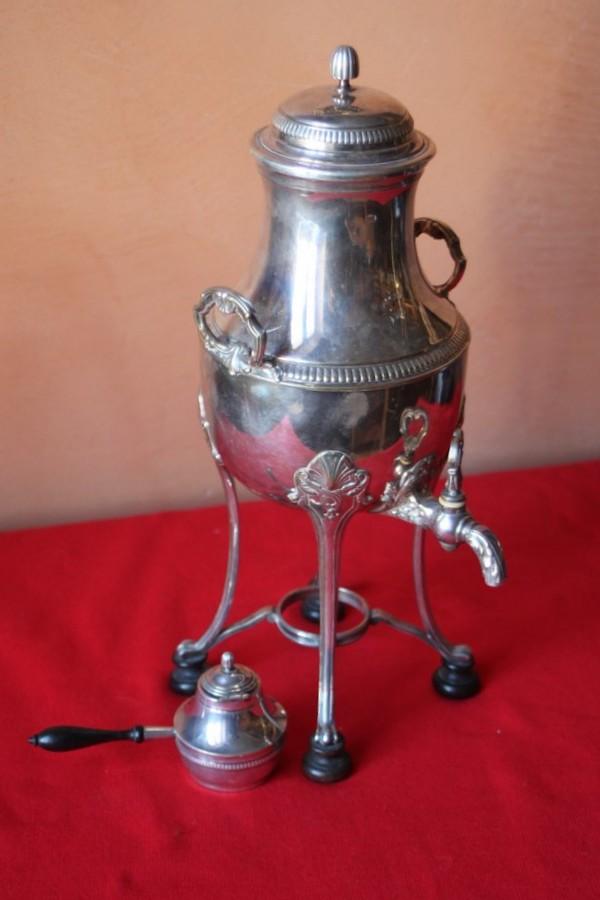 Fontaine chauffante en métal argenté 19ème