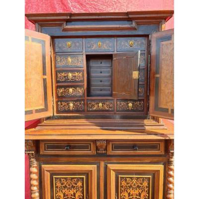Buffet 2 corps cabinet en marqueterie
