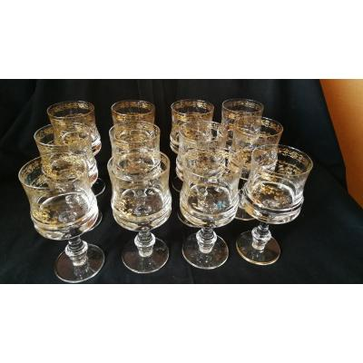 Series Of 12 Engraved And Gilded Glasses
