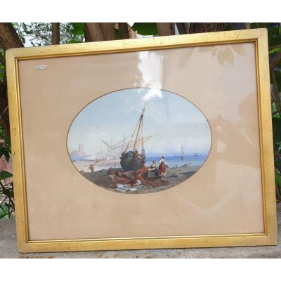 Gouache 19ème siècle signée et datée sur papier encadrée