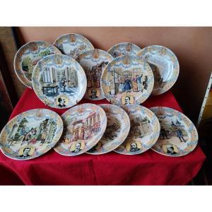 Série de 12 assiettes Sarreguemines