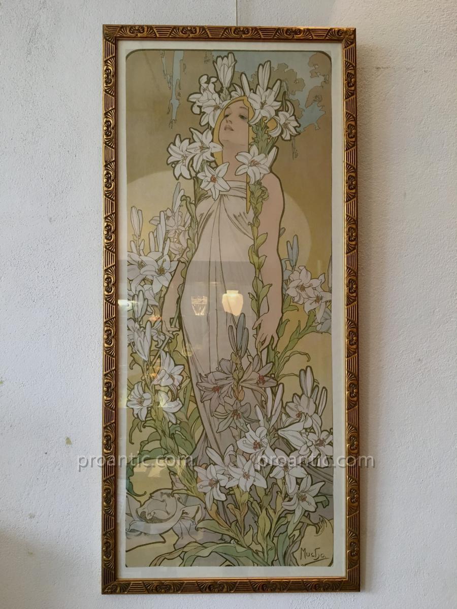 """4 Affiches Originaux d'Alphonse Mucha """"les Fleurs"""" , 1898"""