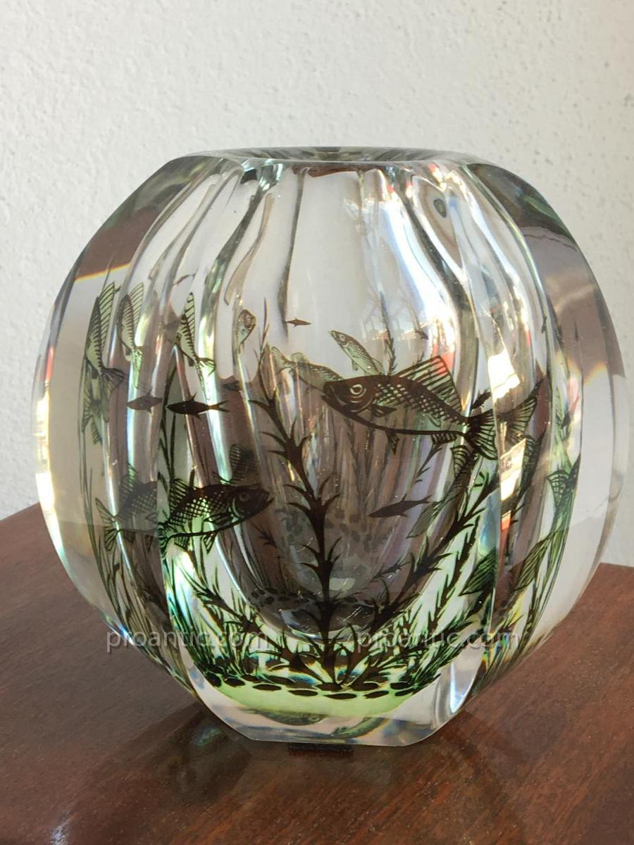 Crystal Thick 6-sided Vase. Graal Glass, Edvard Hald For Orrefors 1956