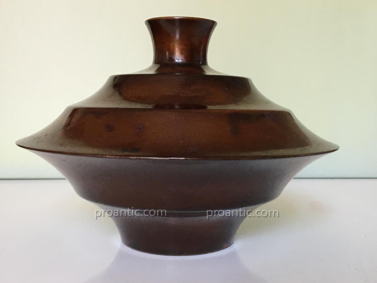 Art Japonais 1950  Vase En Bronze De Kozan