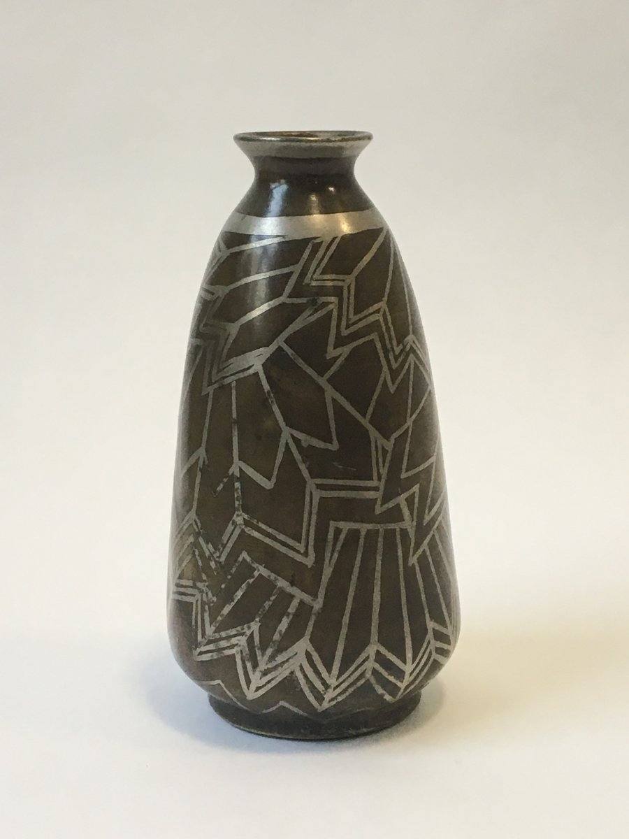 Paul Louis Mergier (attributed To) - And Evolution: Vase In Dinanderie Geometric Decor