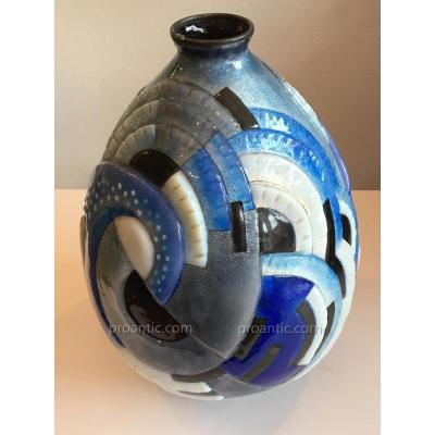 Camille Fauré Limoges: Grand Vase En Cuivre Emaillé  au Décor Géométrique