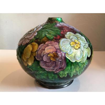 Camille Fauré Limoges: Vase en Cuivre Emaillé à Décors de Fleurs