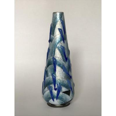 Camille Fauré Limoges: Vase En Cuivre Emaillé à Décor Géométrique / リモージュ カミーユ・フォレ エマイユ花瓶