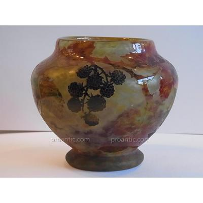 Acid Etched Glass Vase With Decor Of Blackberry By Daum Nancy