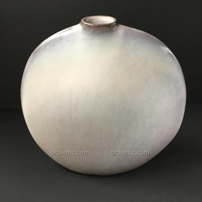 """Jacques et Dani Ruelland - Vase En Céramique émaillé Blanc, Gris-mauve """"Lune"""" / リュエラン 花瓶"""