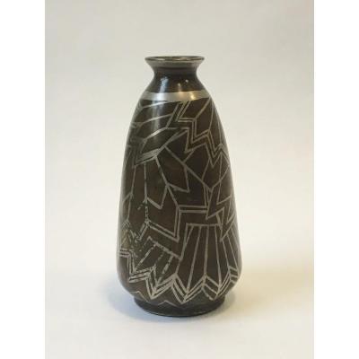 Paul Louis Mergier(attribué à )- Et Evolution: Vase En Dinanderie à Décor Géométrique