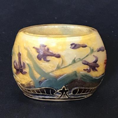 Daum Nancy: Miniature Glass Vase Of Bluebell/ ド ー ム ・ ナ ン シ ー ヒ ヤ シ ン ス 文 ミ ニ チ ュ ア 花瓶