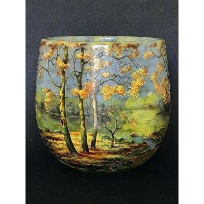 Daum Nancy : Vase à Décor De Paysage Automnal /ドーム・ナンシー 秋景色の花瓶