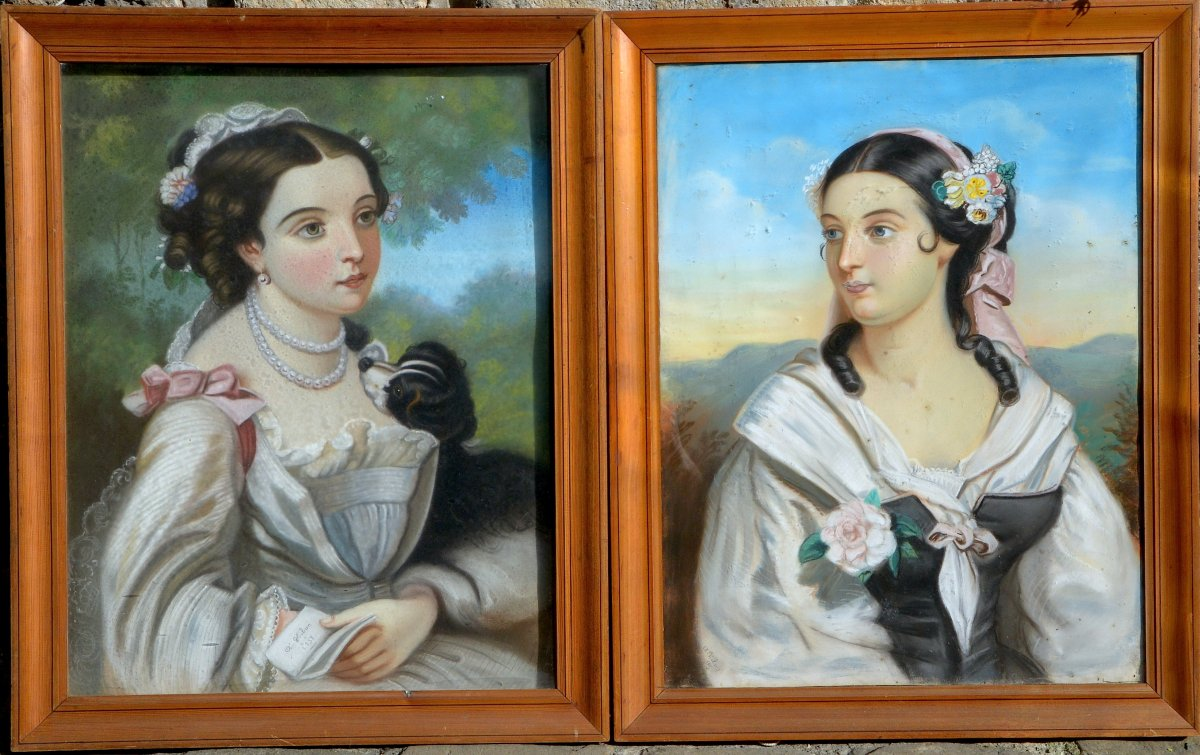 A. Hibon, Pair Of Pastels, Portraits Of Young Girls, 1857