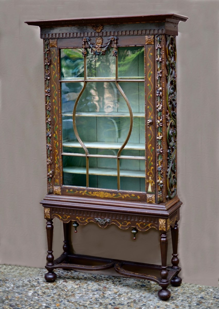 Nineteenth Showcase On Polychrome Carved Wood Console