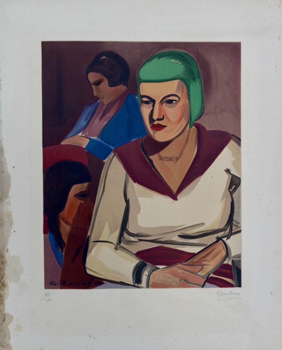 "Georges Joubin ""women In An Interior"" Lithograph Circa 1940-photo-2"