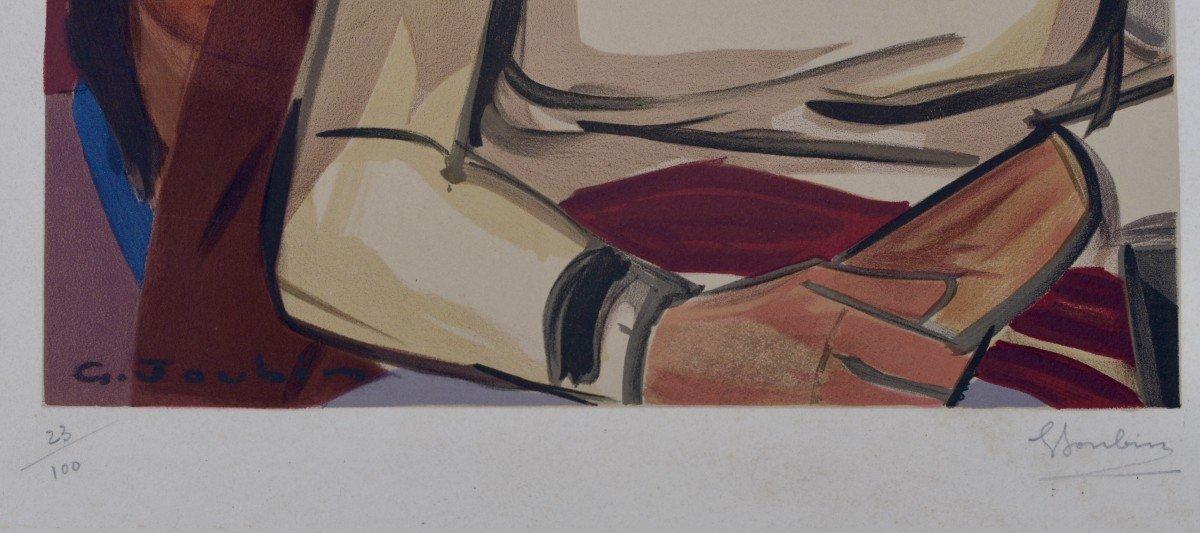 "Georges Joubin ""women In An Interior"" Lithograph Circa 1940-photo-3"