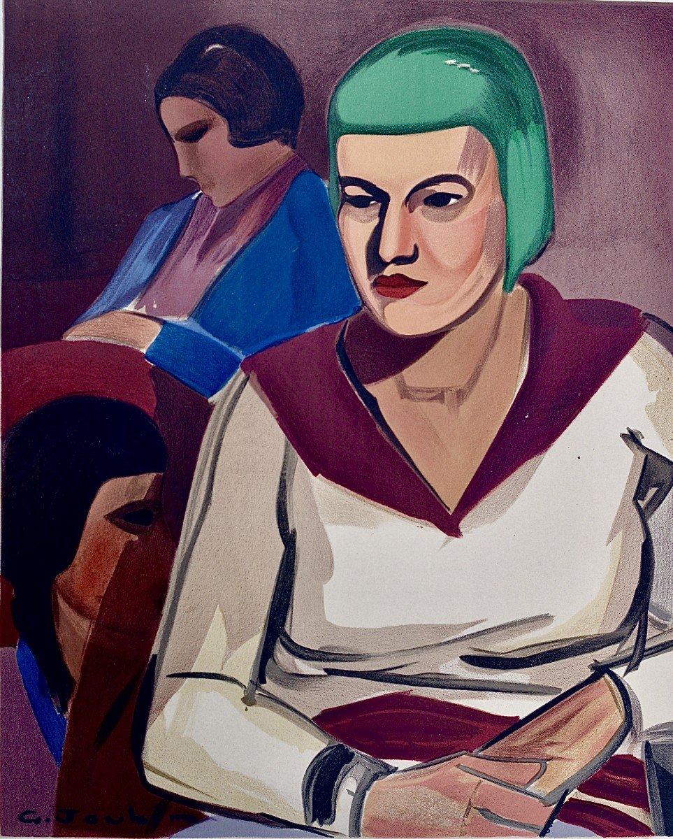"Georges Joubin ""women In An Interior"" Lithograph Circa 1940"