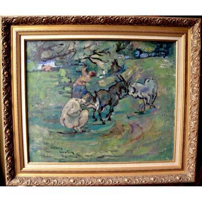 Antonin Guéton, Chèvres Et Paysannes, Huile Sur Toile 1930