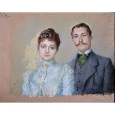 Jules Aviat, Portrait De Couple, Pastel Vers 1900
