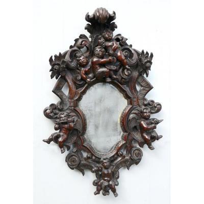 Important Miroir Baroque Aux Angelots XVIIIème