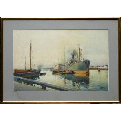 "Isidore Rosenstock ""Le Port de Memel"" 1922, Aquarelle"