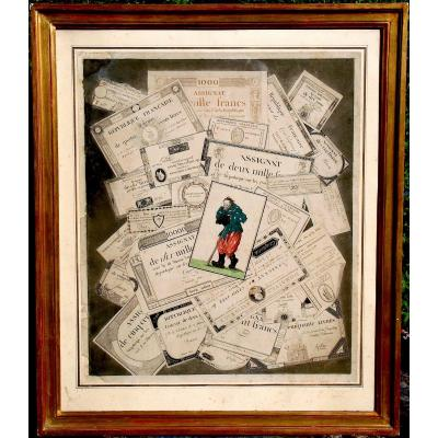 Year 3. Assignats - Engraving Representing Assignats Tickets In Trompe-l'oeil