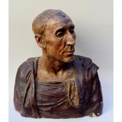 Buste de Niccolo  d'Uzzano, Terre Cuite Polychrome XIXème d'aprés Donatello