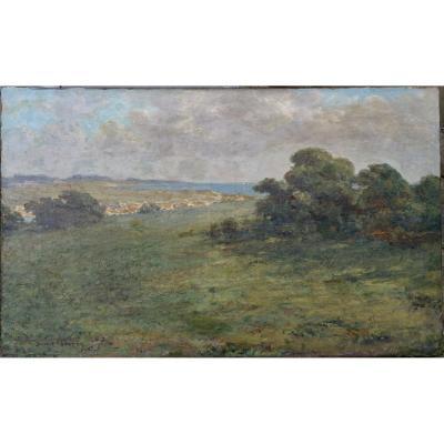 """Hubert-Gautier, """"Côte Bretonne"""", Huile sur Toile vers 1910"""