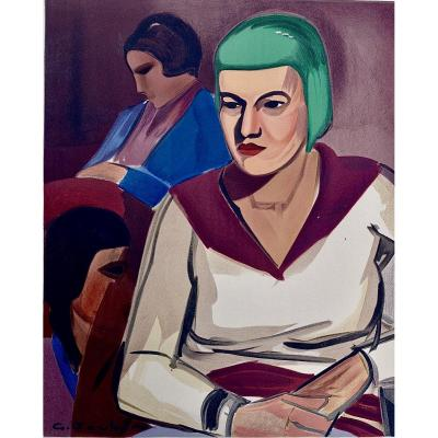 "Georges Joubin ""women In An Interior"" Lithograph Circa 1940"