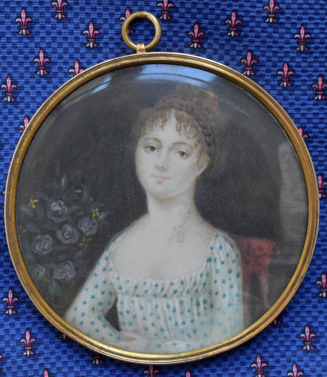 French School First Empire C1815 Miniature Portrait