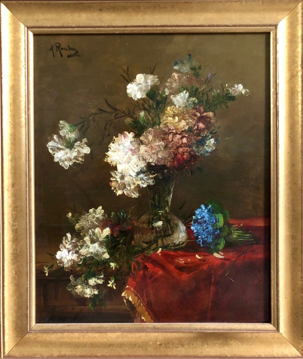 Still Flowers, Signed Alfred Rouby (1849-1909)