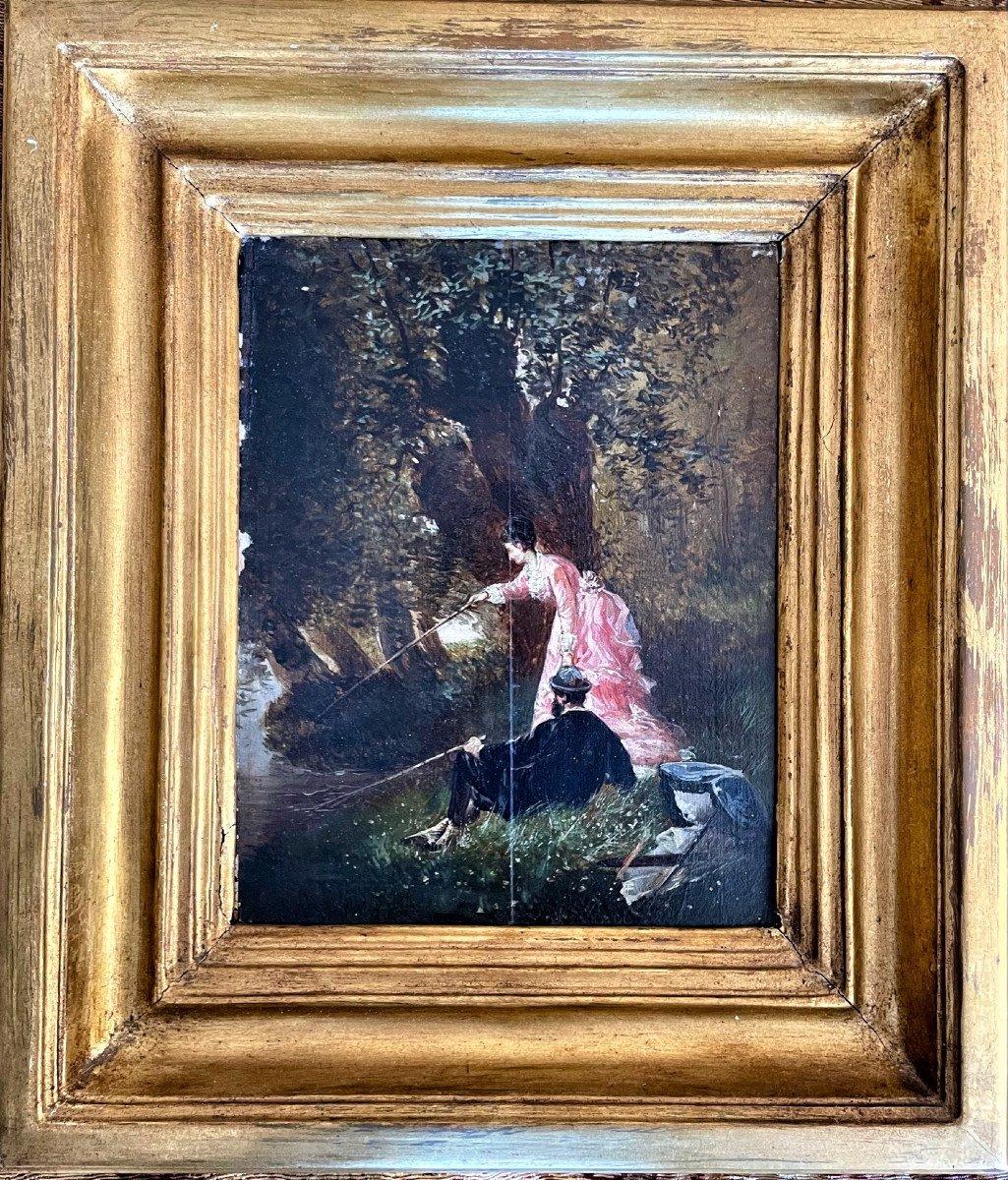 paire de tableaux 19eme , La partie De Pêche-photo-3