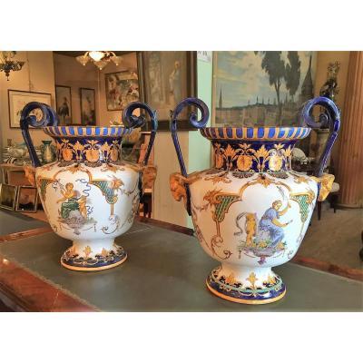 Rare Paire De Vases Jules Vieillard Bordeaux