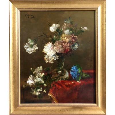Bouquet De fleurs Et Violettes Signé Alfred Rouby