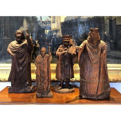 Quatre Maitres Compagnons Du Devoir En Bois Sculpté 19eme